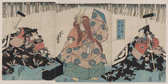 Illistration zu einem No-Spiel über den Schwertschmied Kokaiji, 19. Jahrhundert. Dank an die Library of Congress, Washington D.C.