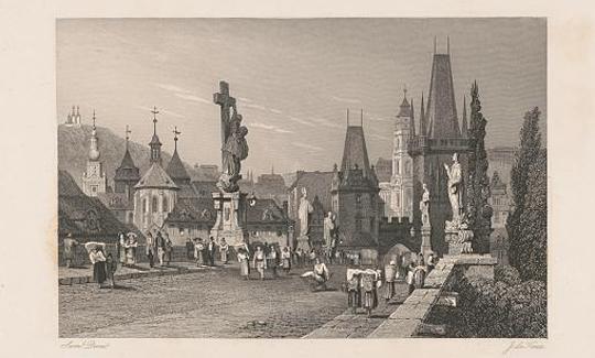 Prag, eine Arbeit des Graveurs John Le Keux, 19. Jh. (Dank an die Library of Congress, Wash. D. C.)