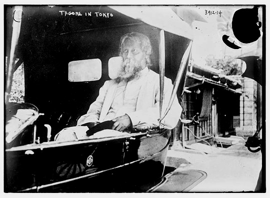 Tagore 1916 in Tokio. (Aufnahme von Bain News Service, zur Verfügung gestelt von Library of Congress, Wash. D. C.)
