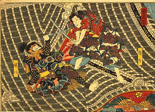 Horyukaku: Zwei Männer kämpfen auf einem Turm (Japan, 1830-1870, unbekannter Künstler (Dank an Library of Congress, Wash. D. C.)