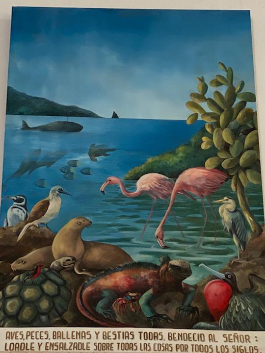 Aufschrift: Vögel, Fische, Wale und jeglisches Getier, Segen dem Herrn: Lobe sie und preise sie über allen Dingen und alle Jahrhunderte hinweg
