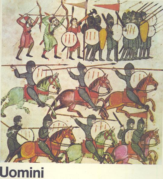 Die Rittersagen: Titelbild eines italienischen Schulbuchs. Überschrift: Männer
