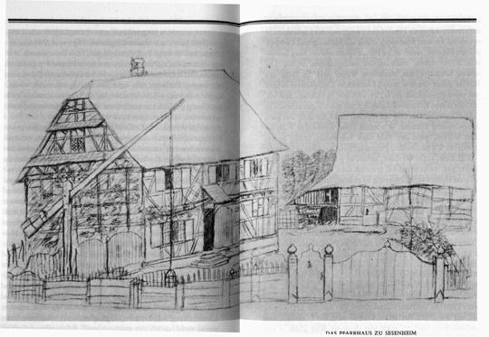 So zeichnete Goethe das Pfarrhaus in Seesenheim. Er hätte besser Friedriken gezeichnet