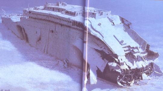 Der Bug der Titanic, nach einer Zeichnung in dem erwähnten Buch
